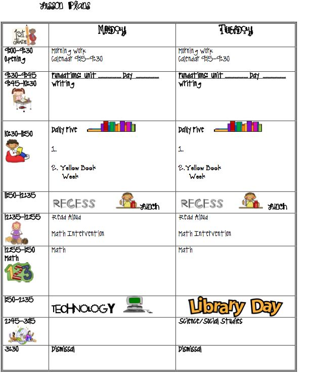7 best daily schedule images on pinterest calendar for Lesson plan template for kindergarten teacher