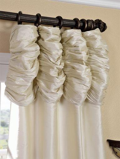 Marvelous Ruched Pearl White Thai Silk Curtain