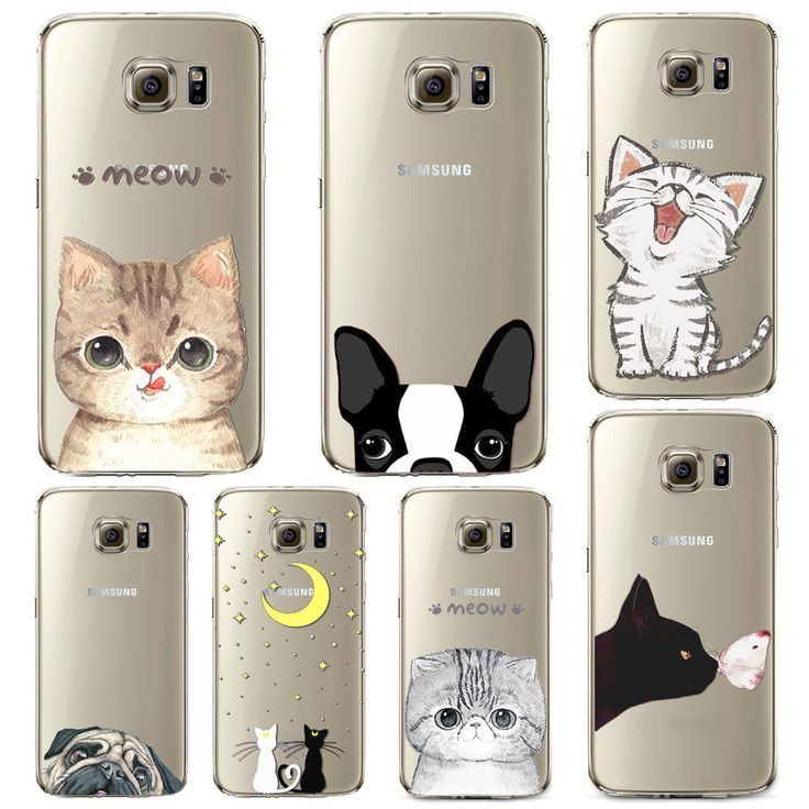 Phone Case for Samsung Galaxy S5 S6 S6Edge S6Edge+ Soft TPU Silicon Transparent Thin Cover Cute Cat Dog Animals Skin Shell