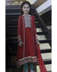 Red Chiffon A-Line Dress