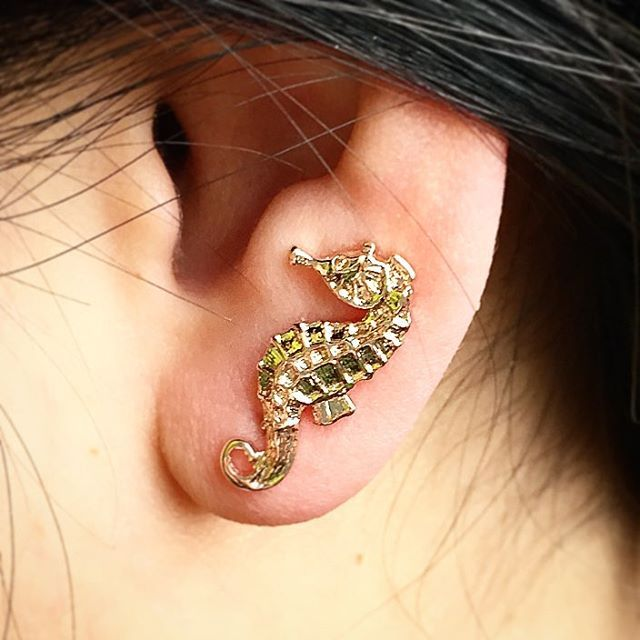 ✨:: The Seahorse Climber || Now £7 :: ✨  We have received so many lovely requests to see our gorgeous seahorse ear climbers being worn, so we didn't want to disappoint! 💚✨ . . . #BillSkinner #seahorse #studio #design #jewellerydesign #earclimber #designer #fashion #statementearrings #rosegold #rosegoldjewellery #aquatics #handcarved