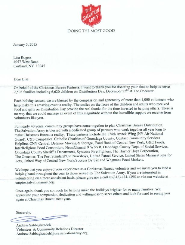 A thank you letter from the Salvation Army OraBrite Gives Back - volunteer thank you letter