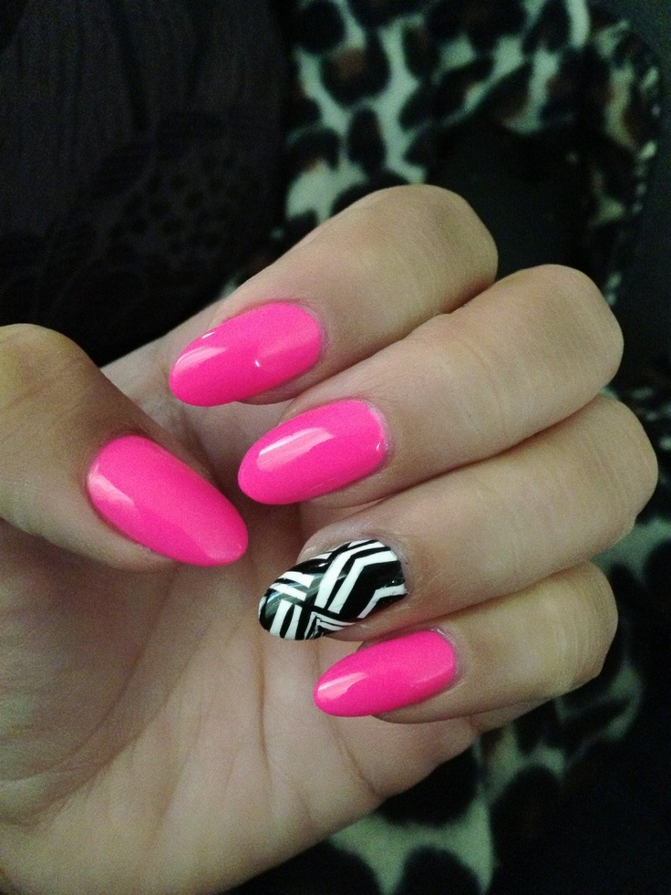 Hot pink almond nails with hand painted accent nails!