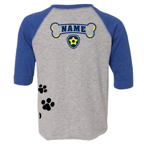 Age Memory Paw Patrol Chase Birthday Custom Raglan Toddler Shirt with Name on Back