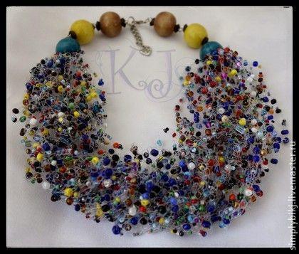 """Колье """"Весна"""" - воздушное,воздушное колье,яркое колье,весеннее украшение. Multistrand Bead Crochet Necklace. Beadwork Necklace."""
