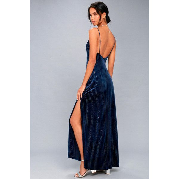 Lulus  Studio Lounge Navy Blue Velvet Sequin Maxi Dress ($79) ❤ liked on Polyvore featuring dresses, gowns, blue, striped maxi skirts, maxi dresses, sequin maxi skirt, navy blue long skirt and fitted maxi skirt