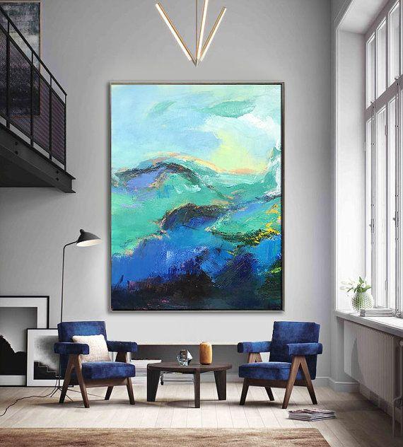 Fait à la main Extra Large peinture contemporaine, Art de l'immense toile abstraite, illustrations originales par Leo. Peinture à la main. Vert, bleu, jaune, rose.