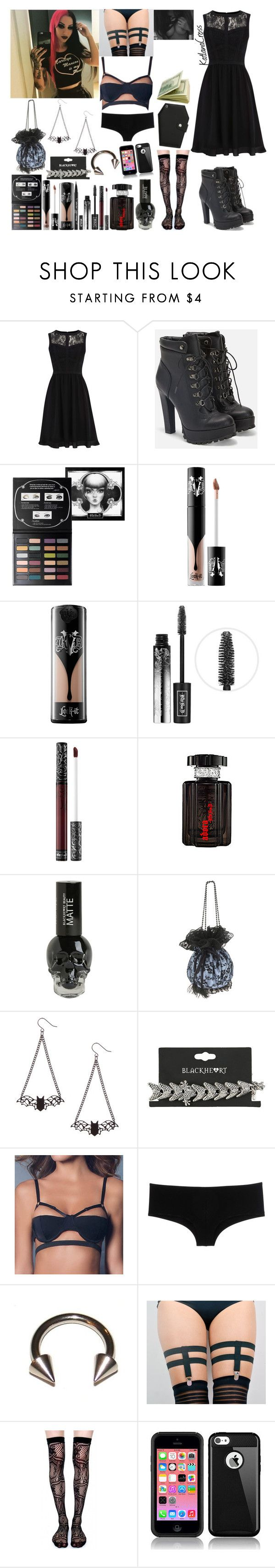"""""""Date night with Ash Costello"""" by katlanacross ❤ liked on Polyvore featuring Warehouse, JustFab, Kat Von D, Oh La La Cheri, D&G, Lip Service, DateNight and ashcostello"""