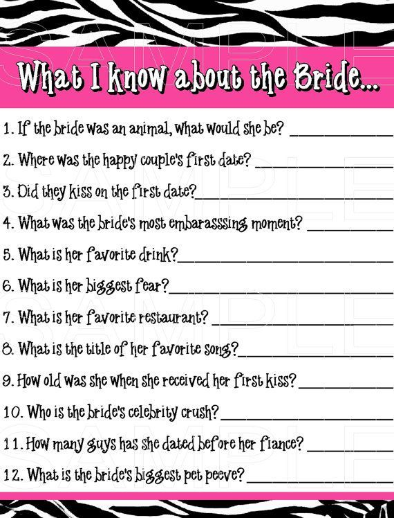 INSTANT PDF DOWNLOAD Printable Pink & Zebra Theme Bachelorette Party Bridal Shower Game on Etsy, $3.00
