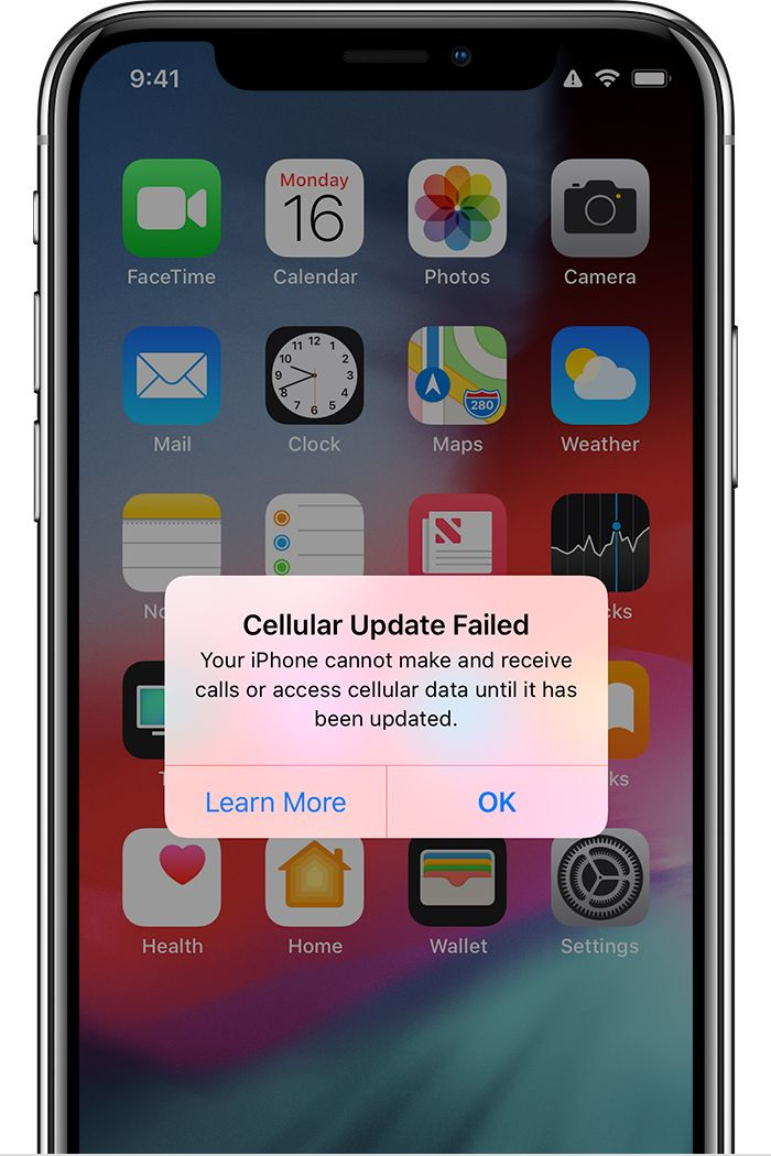 If you see a Cellular Update Failed or Apple Pay Not Available alert