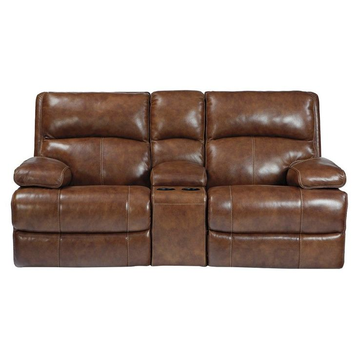 Lensar Glider Reclining Loveseat with Console - Burgundy - Signature Design by Ashley, Brown