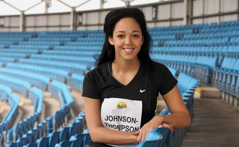 5 minutes with Katarina Johnson-Thompson. Ever since Katarina Johnson-Thompson broke Jessica Ennis' British junior heptathlon record in Italy last May, the Liverpudlian has been tipped as the Olympic champion's natural successor.