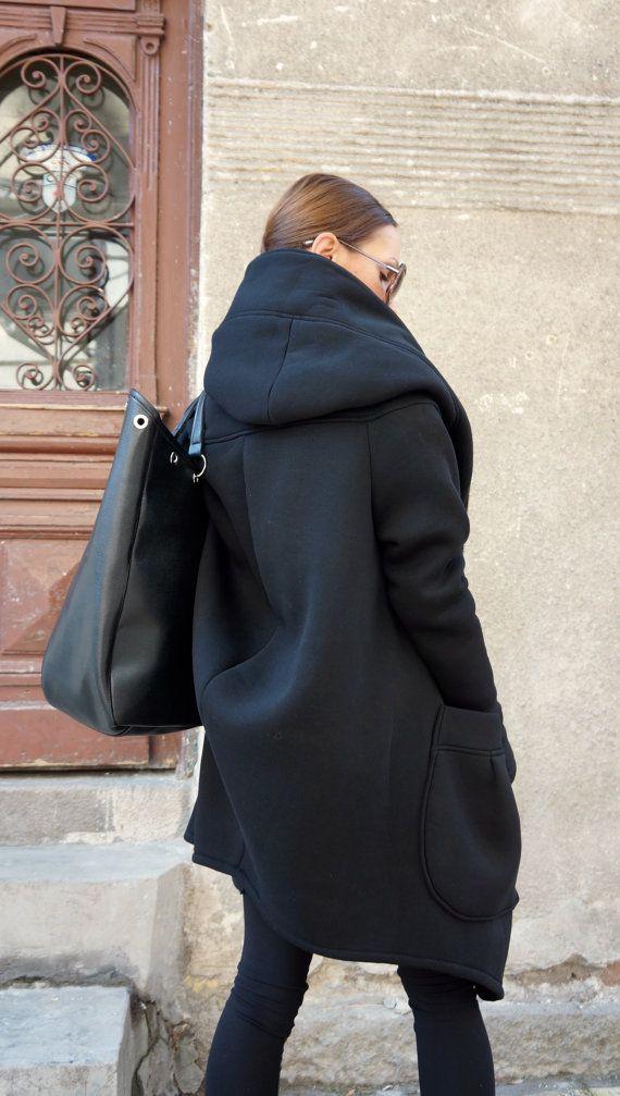 NEW Lined Warm Asymmetric Extravagant Black Hooded Coat by Aakasha