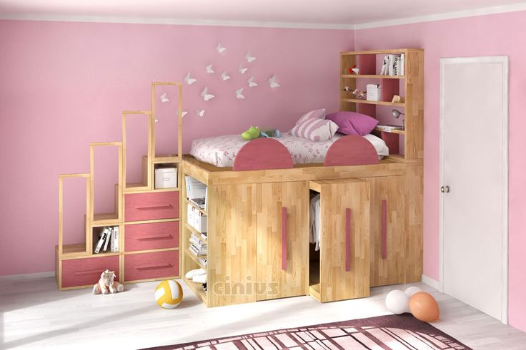 Camera da letto per bambina con letto Impero Young con libreria scala e cassetti