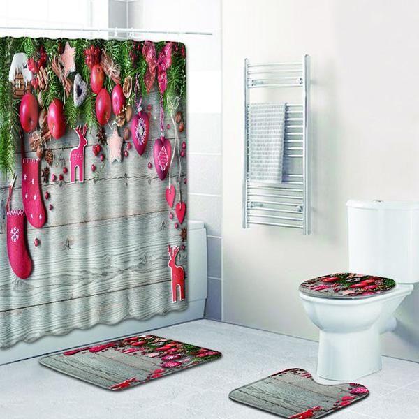 Bathroom Polyester Decor Shower Curtain Panel Christmas Holly Snow Bath Mat Rug