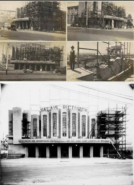 1925 Walter Burley Griffin designed Palais Pictures during construction. It burnt down soon after construction and was replaced in 1927 by the current Palais Theatre building.