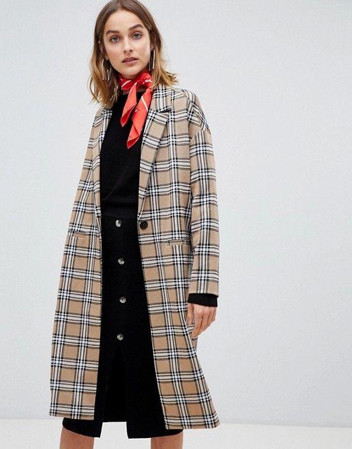 ae4ec8a5 Stradivarius drop arm detail check coat | Style | Check coat, Coat ...