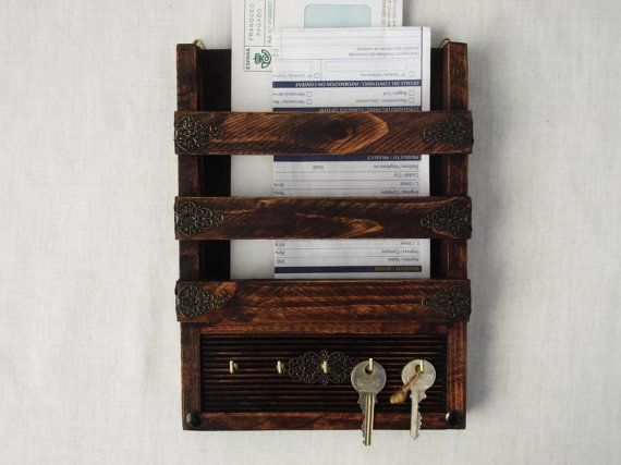 rustic decorative mail holder and key rack wooden wall hanging letter organizer hooks