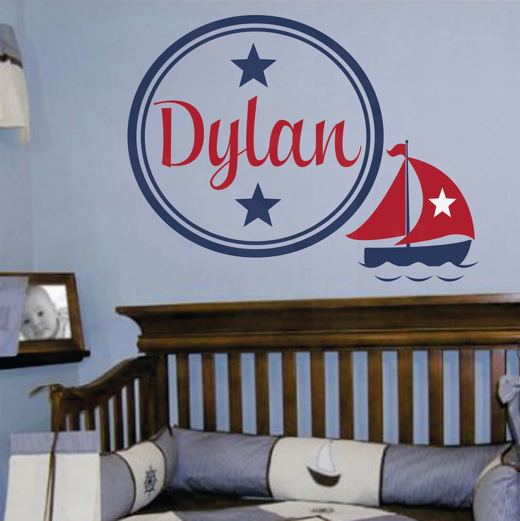 """Do in pink for baby penny-  Nautical Boat Name Decal - Monogram Baby Boy or Girl Wall Name Decal with Boat and Stars-nursery 22""""h x 32""""w. $43.95, via Etsy."""