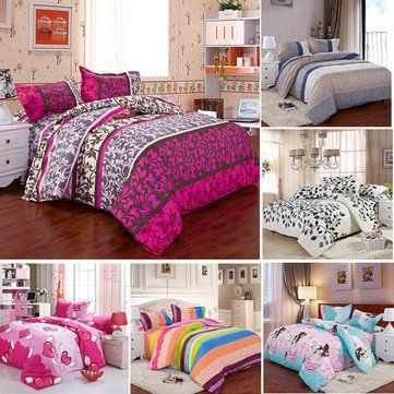 3 ou 4pcs mistura de algodão Patterns Mix Pintura Printing Bedding Sets gêmeo Rainha Full Size
