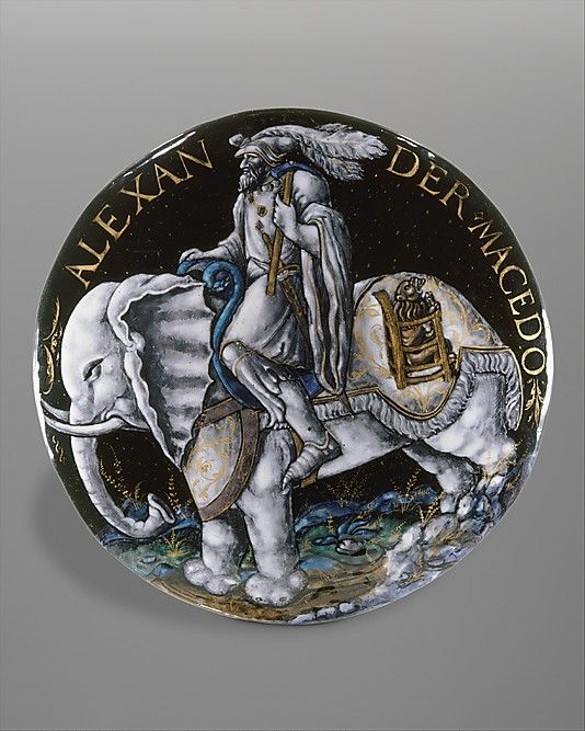 Colin Nouailher, Alexander the Great. c. 1541, French. Enamel, painted & partly gilded, on copper. Metropolitan Museum of Art.