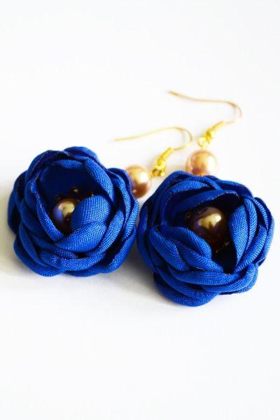 Kolczyki - Róże kobaltowe
