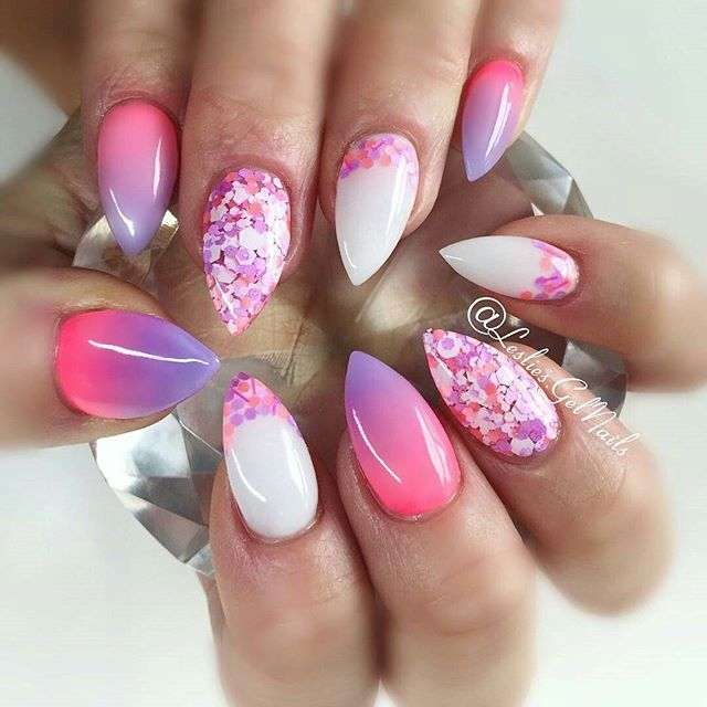 "@leslies.gelnails ""Tart at Hart"" and ""Neonz Pink"" with ""Popsicle""  #nails#kelowna#gelnails#sculptedgel#lesliesgelnails#naildesign#pretty#cute#nailart#kelownagelnails#sculptedgelnails#nailsoftheday#kelownanailtech#purple#purplenails#pink#pinknails#glitter#glitternails#glitterheavenaustralia#stilettonails#stiletto#ombre#ombrenails#pinkombre#purpleombre#encapsulatedglitter #instarepost20"