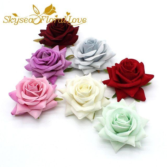 Artificial Velvet Roses Big 8 5cm Silk Flower Heads Diy Hat Shoe Decorative Flowers Wrist Boutonniere Weddi Flower Decorations Silk Flowers Boutonniere Wedding