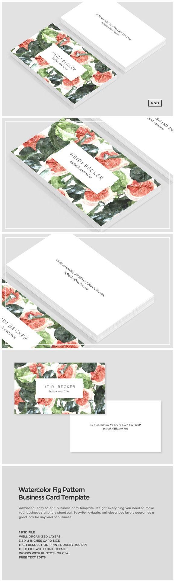 carte de visite à acheter et personnaliser grâce à photoshop. Joli, professionnel et simple à faire ! Watercolor Fig Pattern Business Card by Design Co. on Creative Market