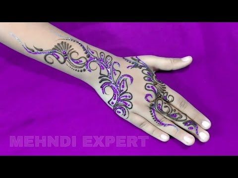 Modern style mehndi design for all occasions with purple glitter ★ step by step - YouTube