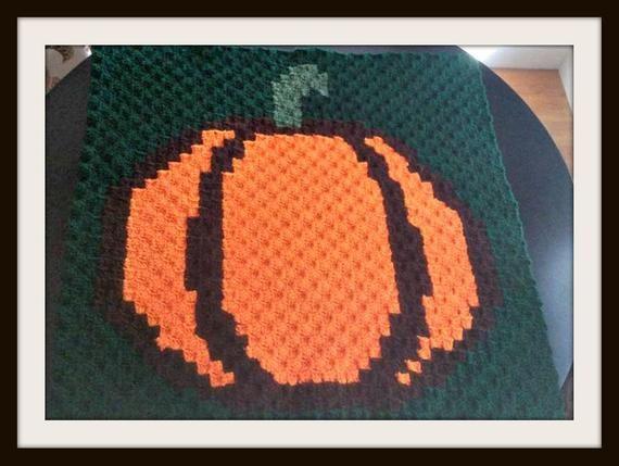 Pumpkin Square, C2C Crochet Pattern, Written Row Counts, C2C