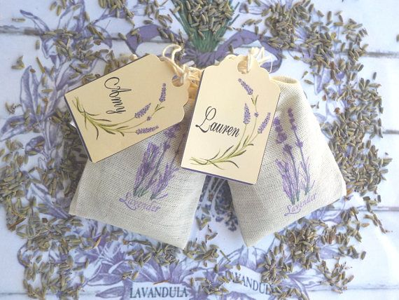 Lavender Sachets with Personalized Tags Lavender Wedding