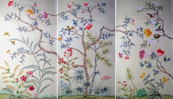 Griffin & Wong wallpaper panels #chinoiserie