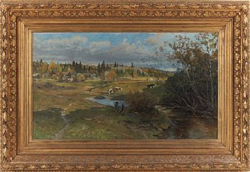 GERHARD MUNTHE ELVERUM 1849 - BÆRUM 1929  Landscape, 1884  Oil on canvas, 57x96 cm  Signed and dated lower right: Gerh. Munthe 1884