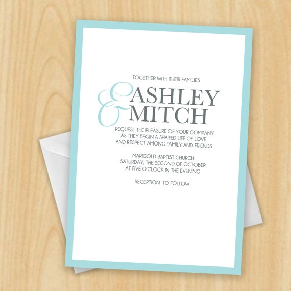 Cyan Ampersand Wedding Invitation DIY Printable by MadeByBree