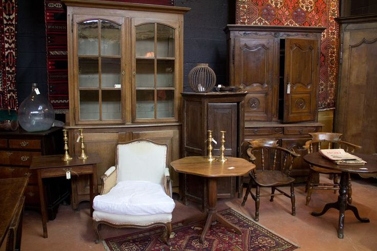 Antique French biblioteque, armoires and chair.