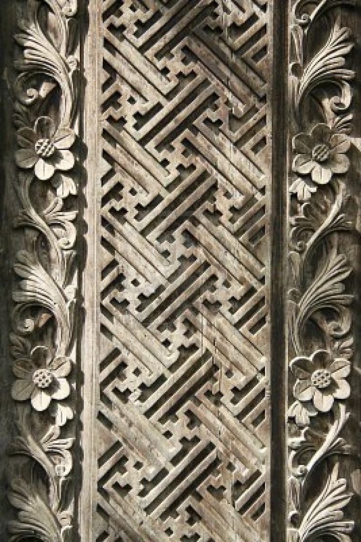 detail of old decorative wooden panel in bali