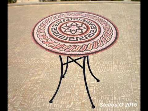Making Mosaics table with tesserae marble