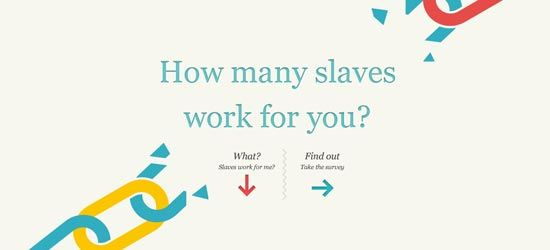 It may not look like it at first but this is an interactive infographic. It's also an informative survey about slavery. I actually took it, I have 30 slaves who work for me :( There are many interactive information graphics out there! amazing stuff! you can create your own at this link: http://infogr.am/