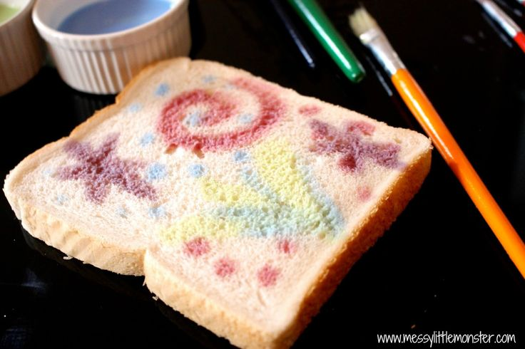 Painted firework toast.  a simple edible paint recipe.  paint firework designs to celebrate bonfire night or new year