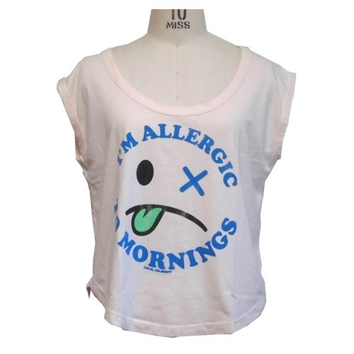 Local Celebrity ローカルセレブリティ レディース トップス Allergic to Mornings Muscle Tee おもしろtシャツ カットソー レディースノースリーブ S M サイズ 各種 おもしろ ノースリーブ 夏 かわいい アメカジ 顔 フェイス ブランド 海外