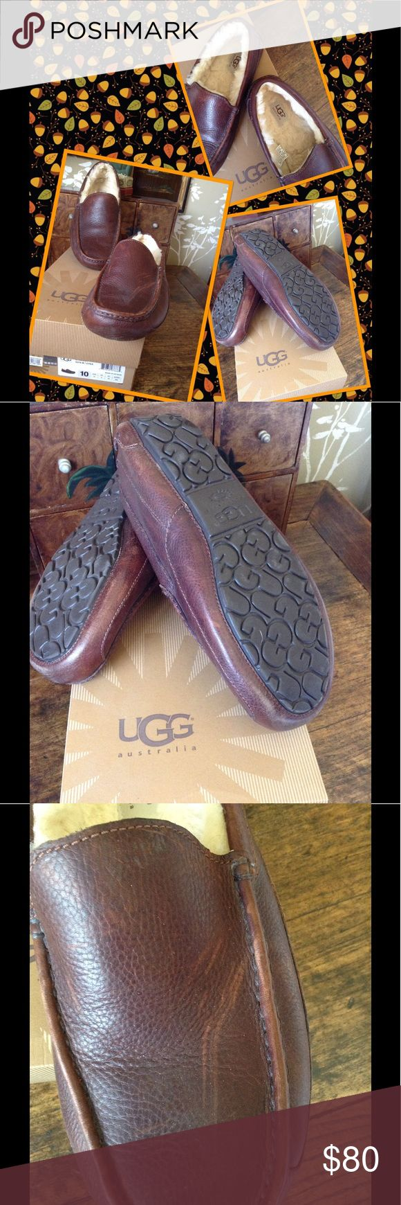 UGG Men's Leather Slippers Almost new leather with shearling wool lining. These slippers can be worn outdoors as they have rubber tread soles. They are a size 10 Snug) and fit a 9 1/2 comfortably as well. Scratches on leather are part of the type of leather. UGG Shoes