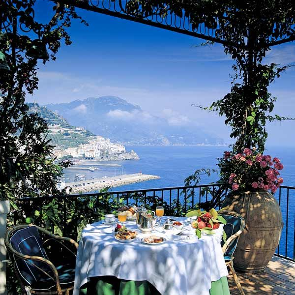 Breakfast on the terrace, Hotel Santa Caterina, Amalfi, Italy