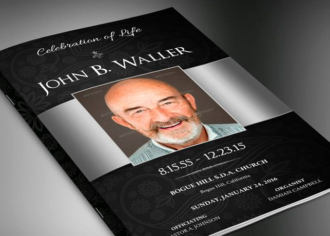 Black Silver Dignity Funeral Program Publisher Template is for a modern memorial or home going service. It's silver decals and text style laid over a black