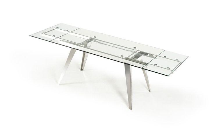 VIG Furniture   Modrest Barium Modern Extendable Glass Dining Table    VGEWD2048FA