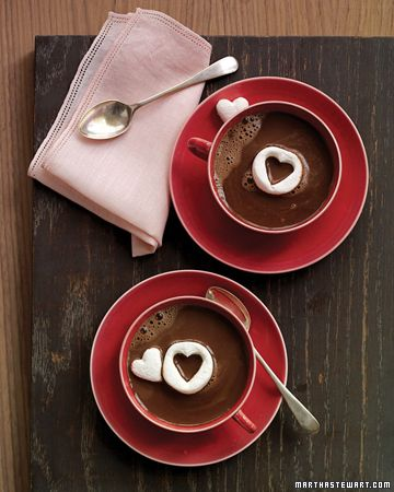 Hot Chocolate with Marshmallow Hearts by marthastewart: So sweet and easy! #Hot_Chocolate #Marshmallow_Hearts #marthastewart