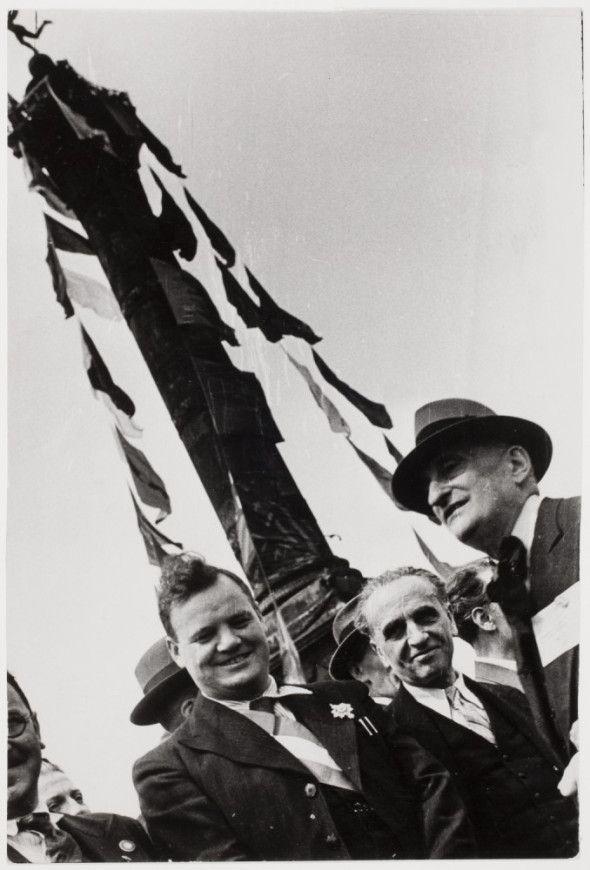 Robert Capa, [Maurice Thorez, Paul Faure, and Victor Basch on Place de la Bastille, Bastille Day, Paris], July 14, 1936