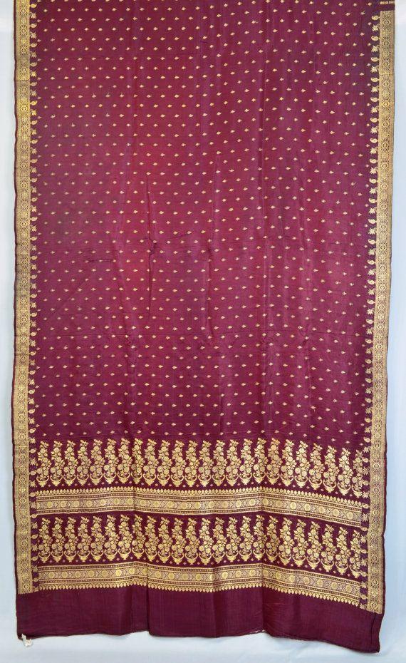 Schwere Zari Brokat reine Seidenstoffe Vintage Indian Saree Floral rotbraun Sari TP1845