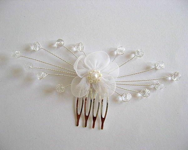 Accesoriu mireasa ac par, accesoriu nunta cu cristale - floare alba - idei cadouri mirese nunta