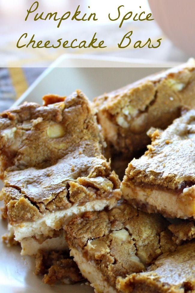 Pumpkin Spice Bars - Easy 2 ingredient recipe (thanksgiving deserts cheesecake bars)